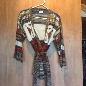 Vintage 1970s space dyed cardigan with belt/tie